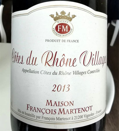Образец из подвала — Maison Francois Martenot Cotes du Rhone Villages 2013